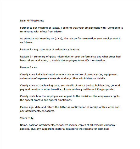 Free Professional termination letter, samples  Formats for