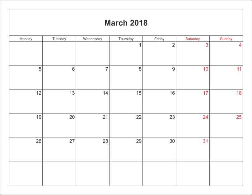 March-2018-Holidays-Calendar