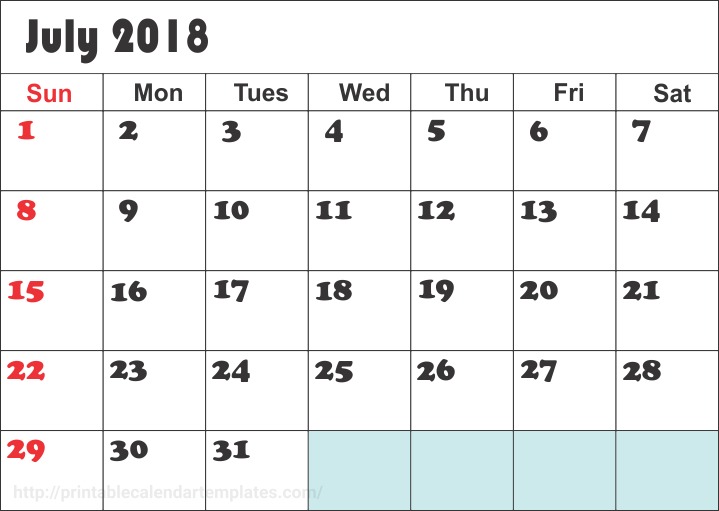 July 2018 Printable Calendar, July 2018 Calendar