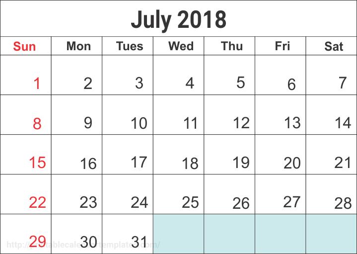 July 2018 Calendar, July 2018 Calendar printable