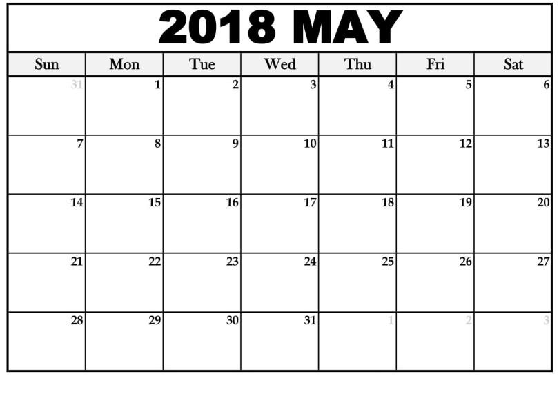 May 2018 Blank Calendar, May 2018 Calendar Printable