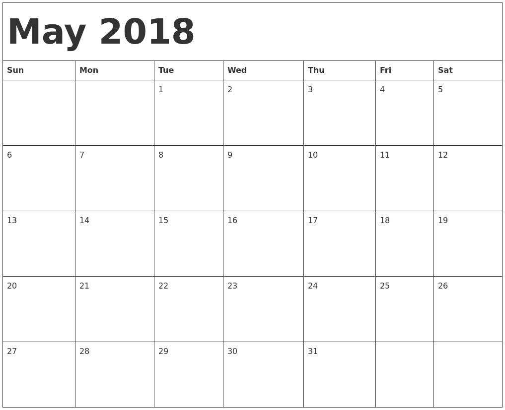 May June 2018 Blank Calendar Template Printable Calendar Templates