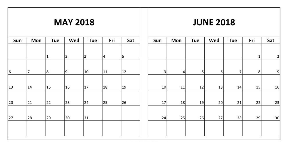 may and june 2018 two months free calendar printable calendar