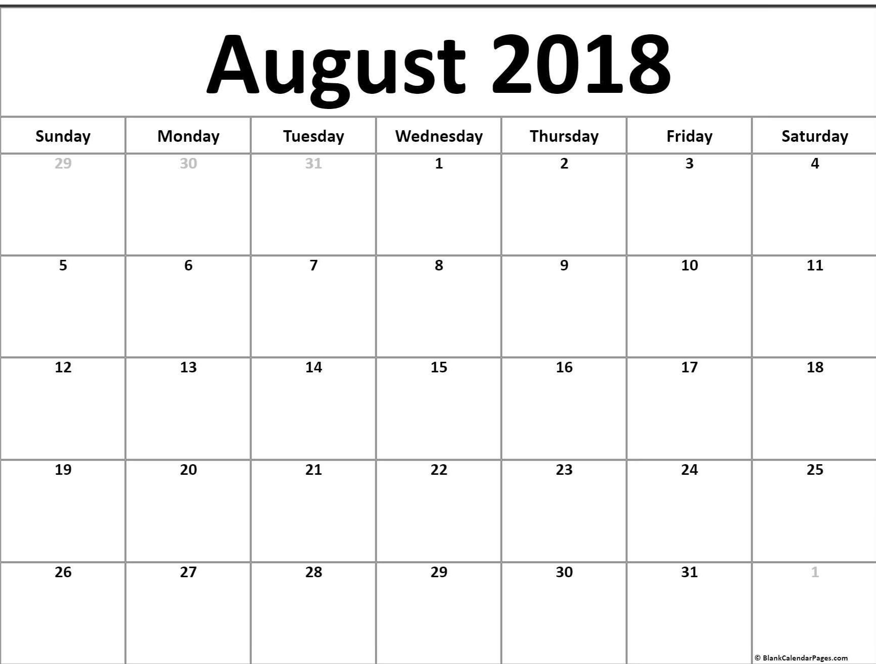 August Calendar 2018 Printable Pdf Excel Word Printable Calendar