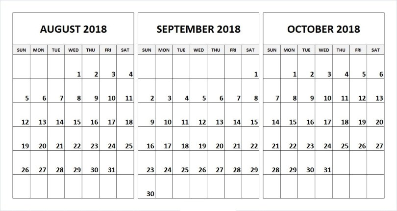 August & September & October 2018 Calendar