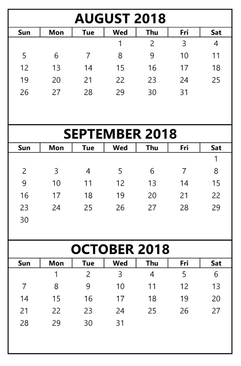 August & September & October 2018 Printable Calendar