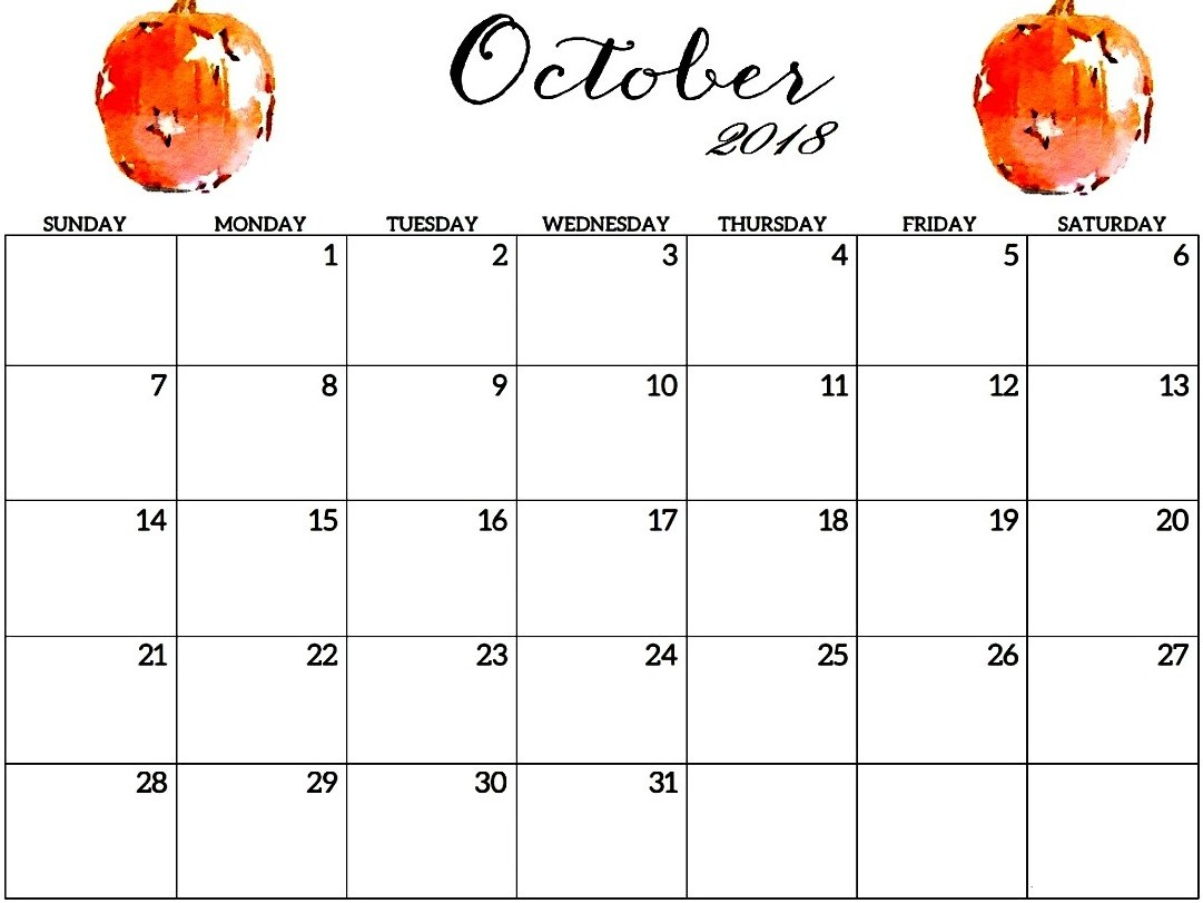 October 2018 Calendar Template Printable Download Printable