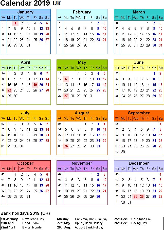 UK Holidays 2019 Calendar
