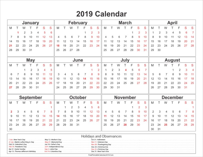 free-printable-calendar-2019-with-holidays-in-word-excel-pdf-template