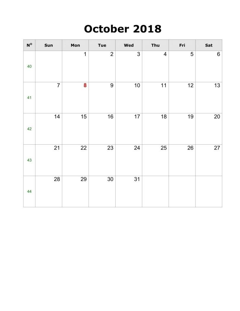 October Portrait Calendar