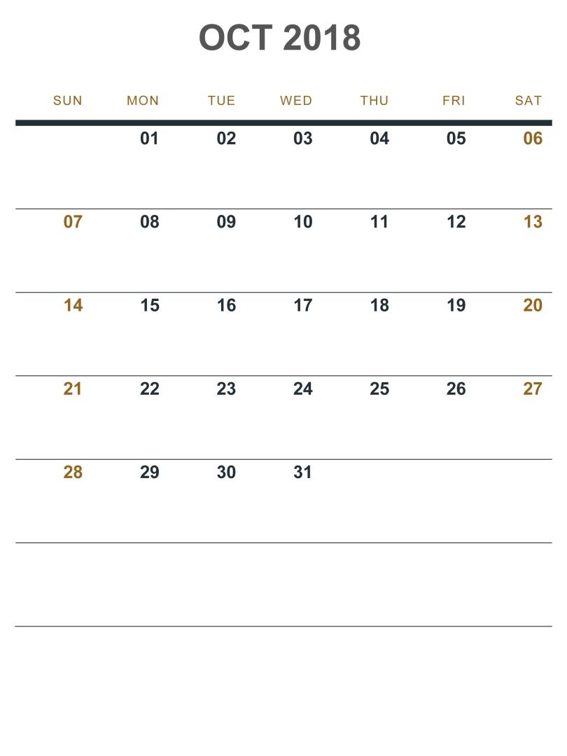 October 2018 Calendar Portrait