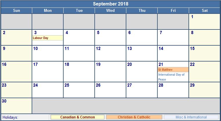 Holiday Calendar 2018 September