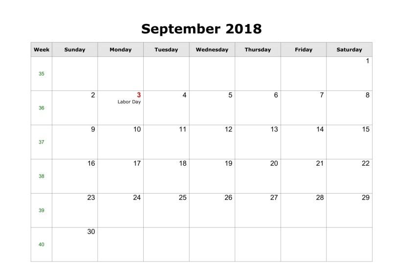 Holiday Calendar 2018 September UK