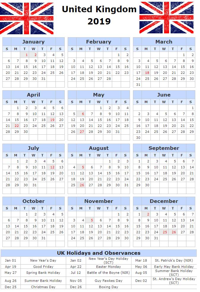 Printable Calendar with England Holidays 2019