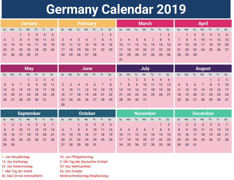 2019 Calendar with Germany Holidays Printable