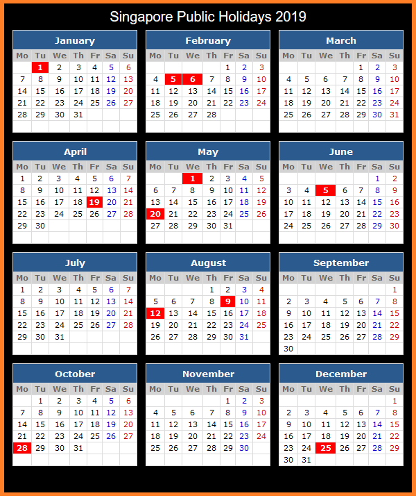 Printable Calendar 2019 with Singapore Holidays
