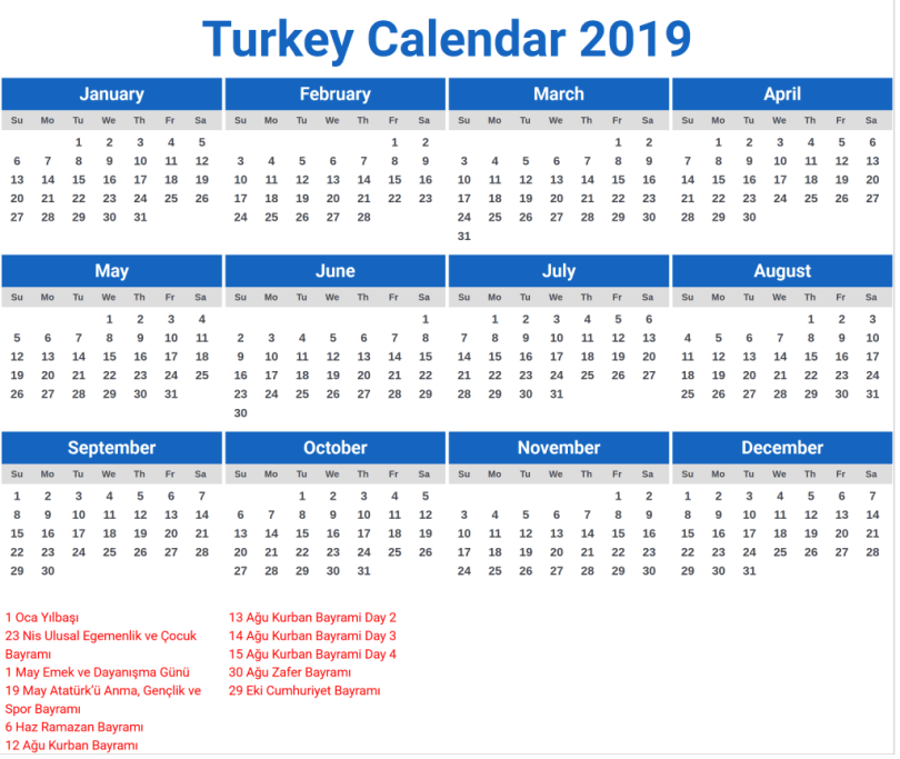 Public Holidays in turkey 2019