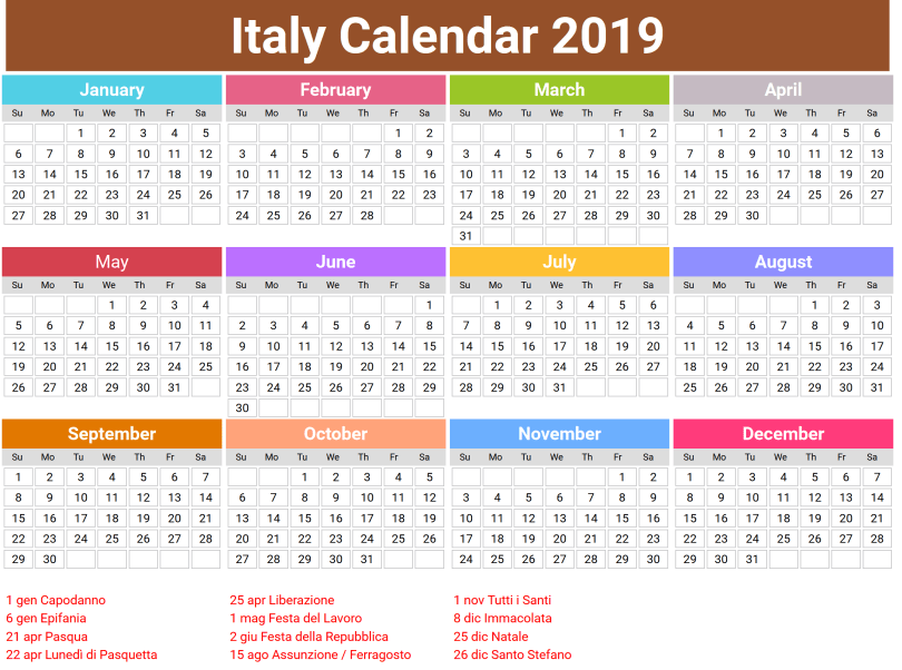 Printable Calendar 2019 with Italian Holidays