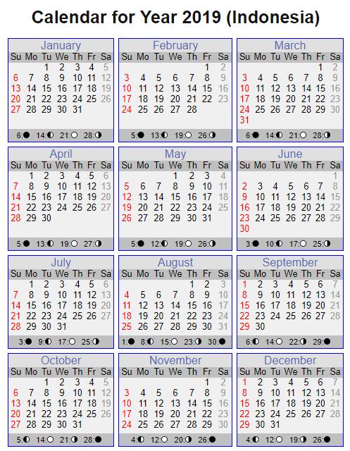 Printable Calendar 2019 with Indonesia Holidays
