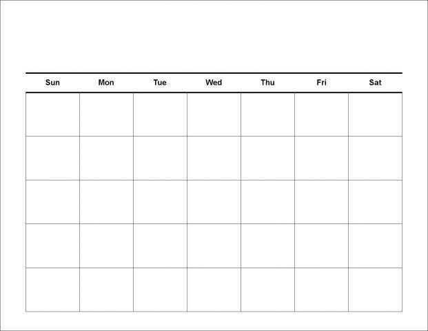 30 Day Calendar Blank