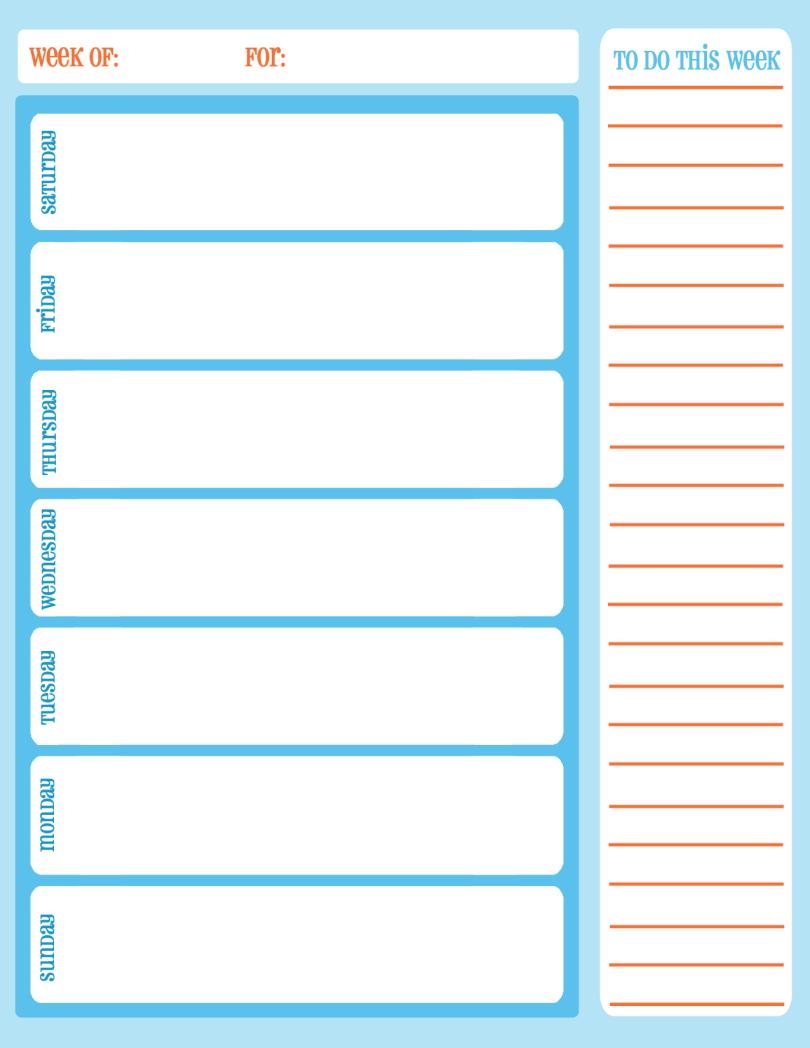 Blank Schedule Calendar