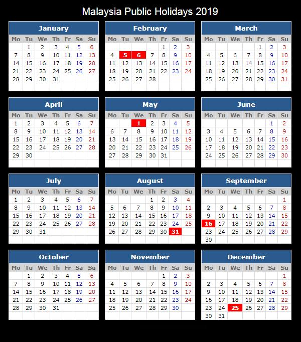 Malaysia Public holiday 2019 Calendar