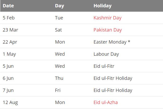 Pakistan 2019 Calendar With Holidays