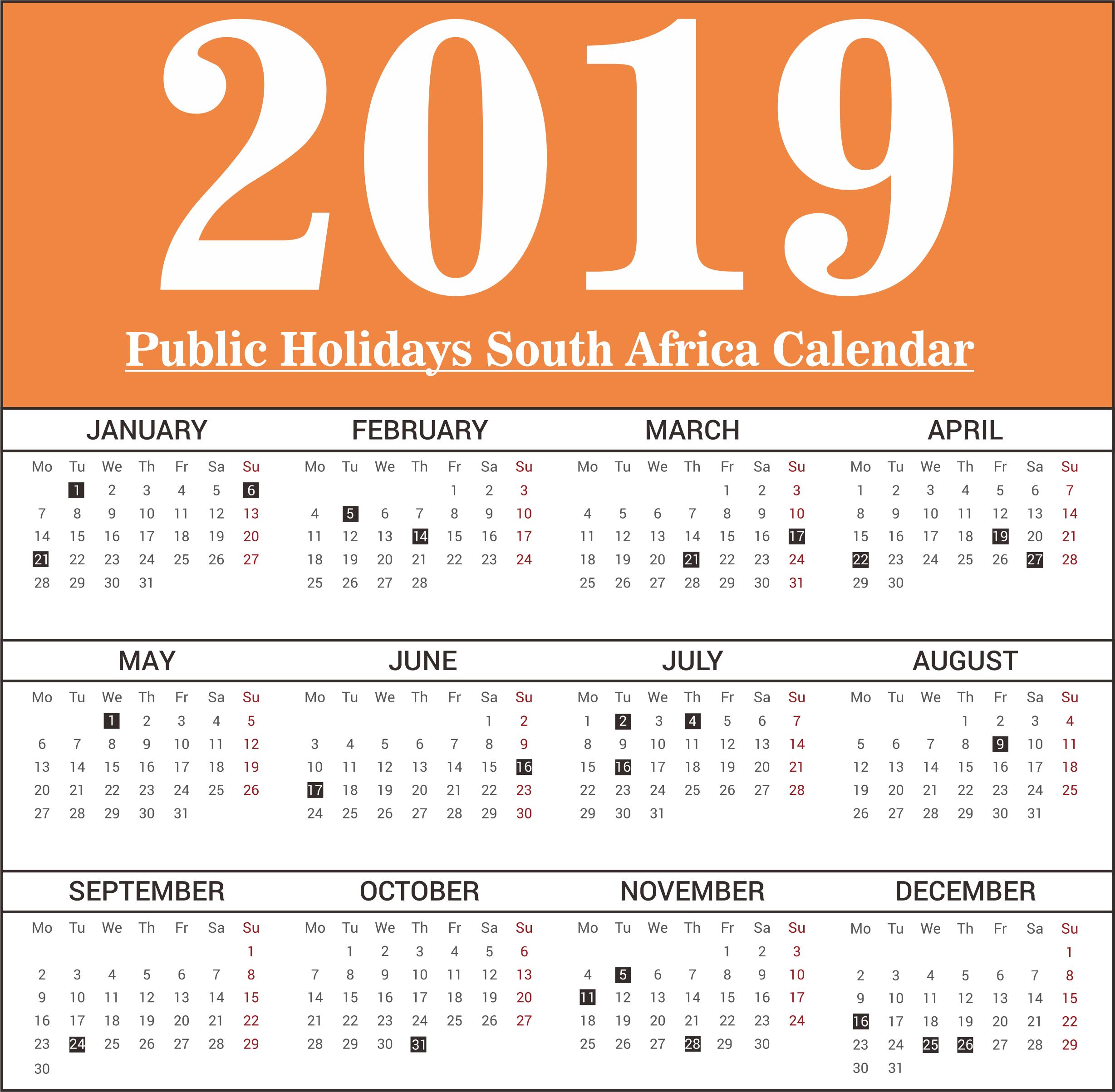 sa public holidays 2019 calendar