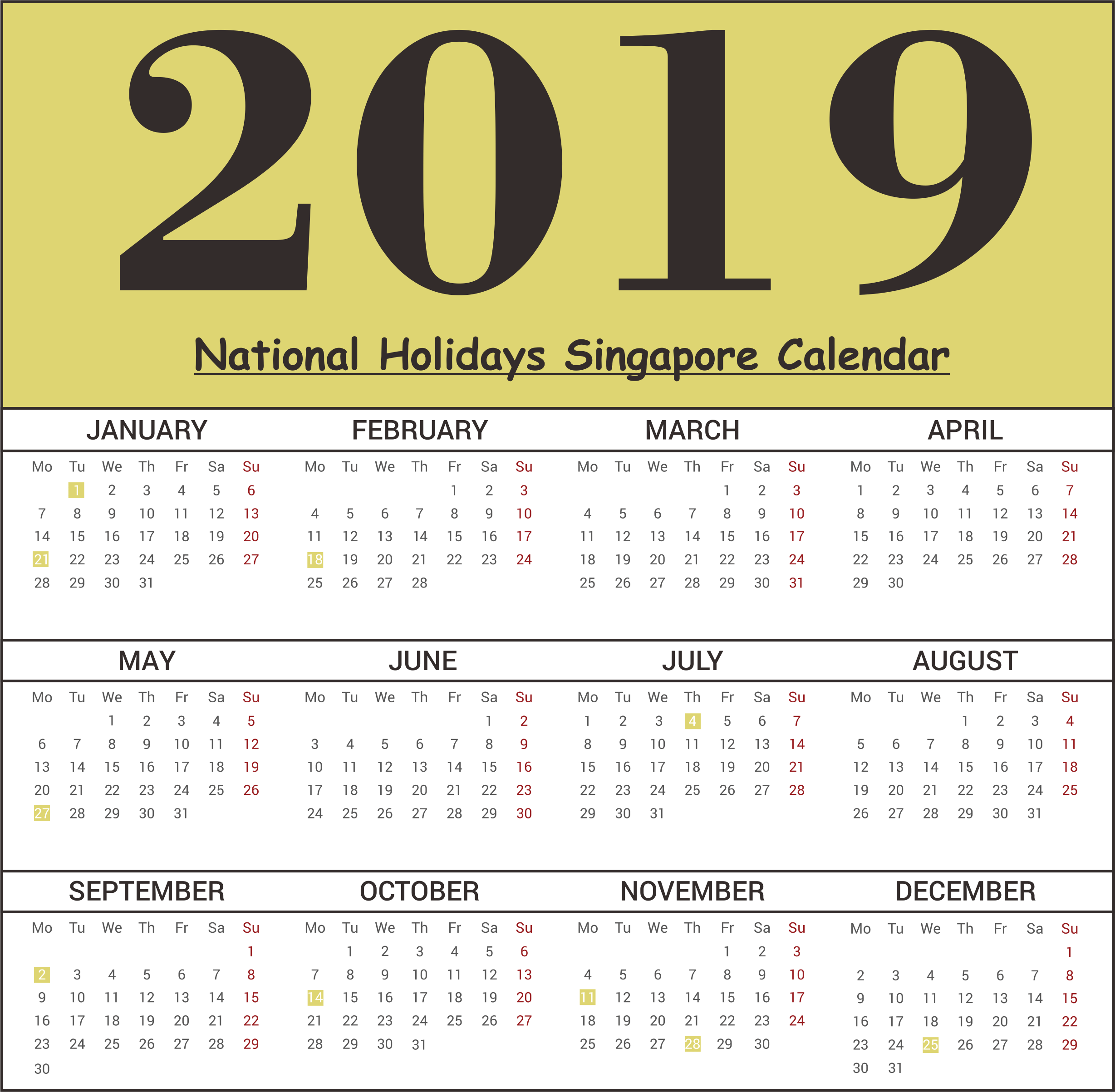 singapore national holidays 2019 templates