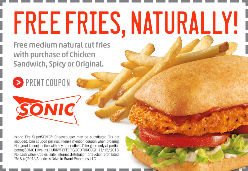 Sonic Fast Food Coupons Printable Coupons Online