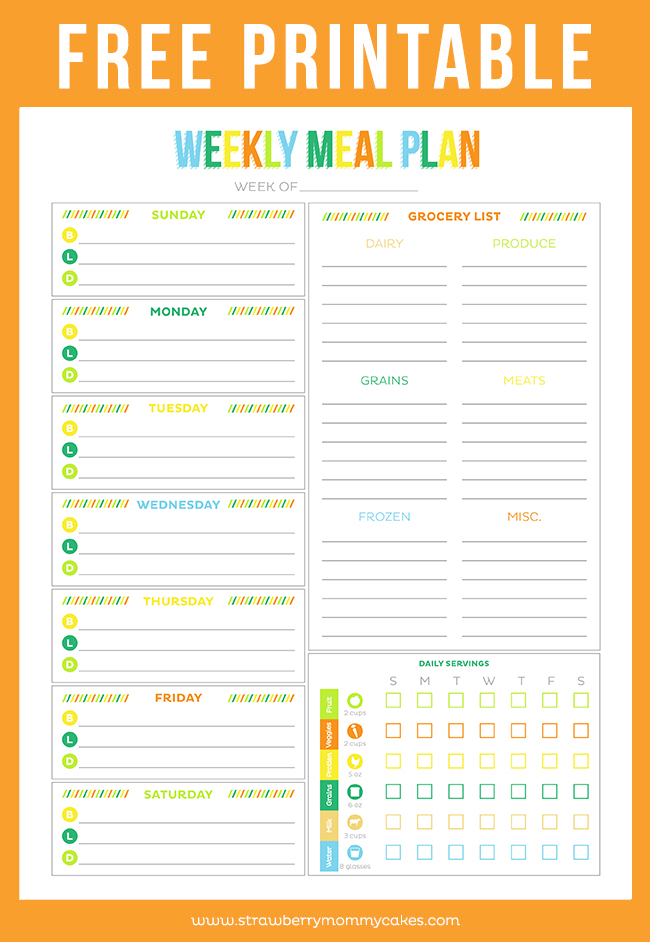 weekly meal plan printable - Roho4senses