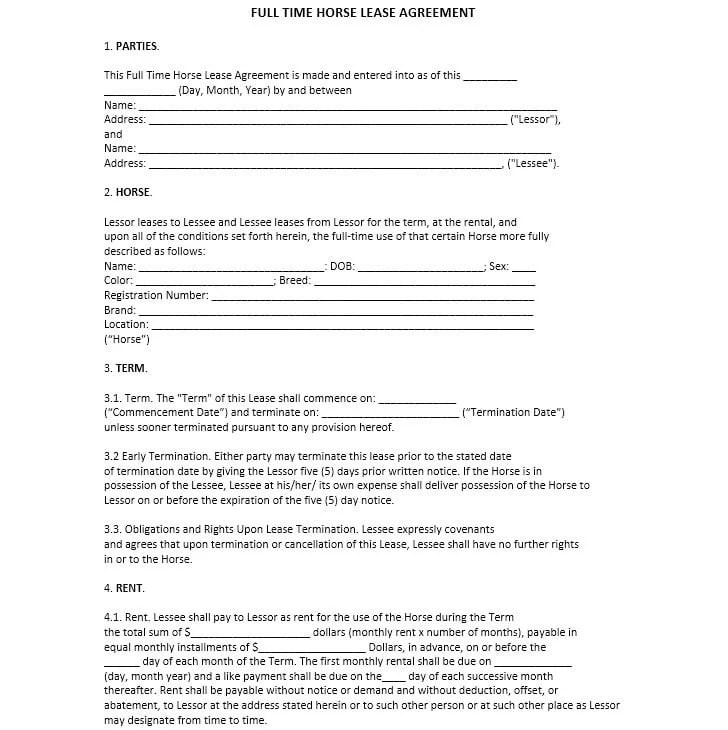 Download Free Full Time Horse Lease Agreement - Printable Lease - horse lease agreements