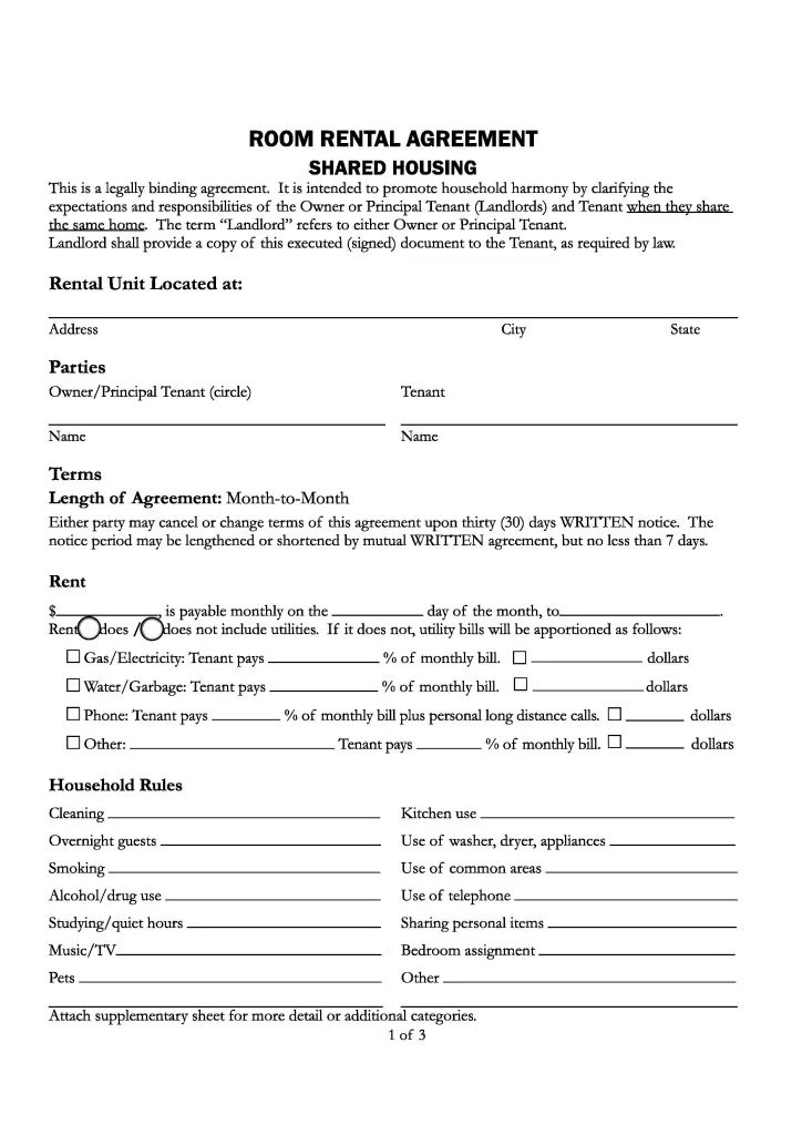 Download Free California Room Rental Agreement - Printable Lease