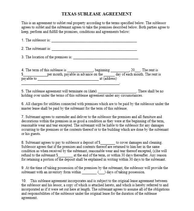 Download Free Texas Sublease Agreement - Printable Lease Agreement