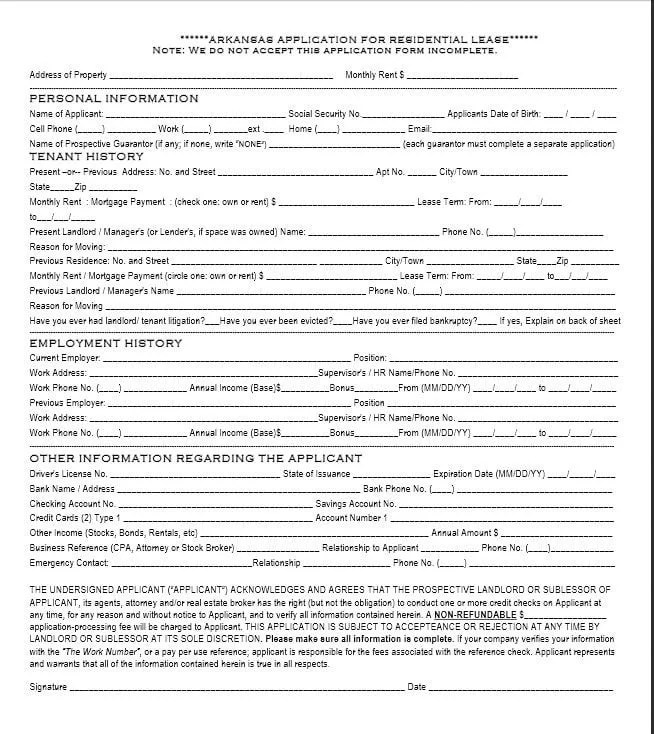 Download Free Arkansas Rental Application Template - Printable Lease