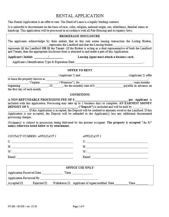 Download Free Virginia Rental Application Form - Printable Lease - rental application form