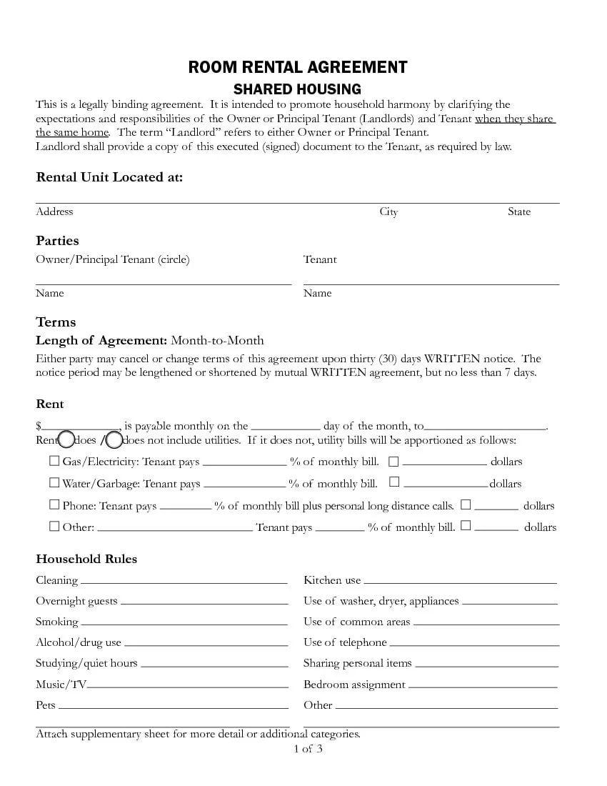 room rental agreements california