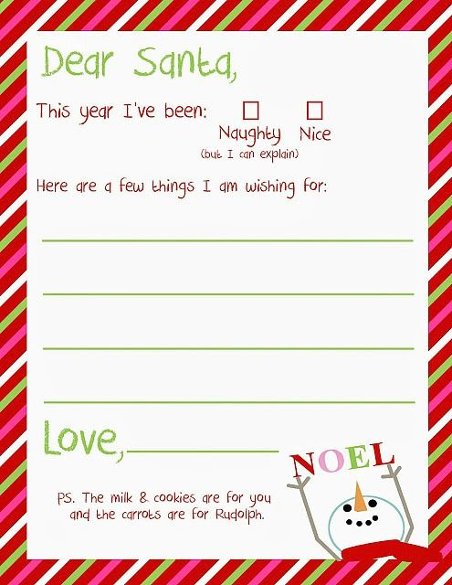 Print A Letter To Santa For Free - Christmas Printables