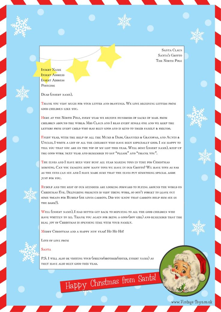 Free Printable Letter From Santa Word Template - Christmas Printables