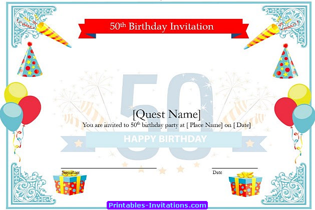 Download Free Printable Invitations of Cool 50th Birthday