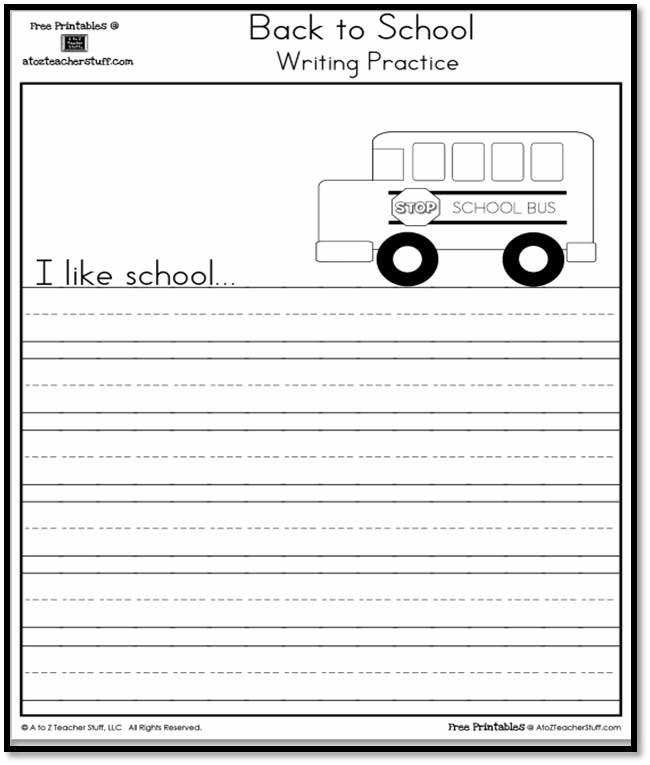 I Like School Writing Practice Page A to Z Teacher Stuff Printable - printable writing paper with border