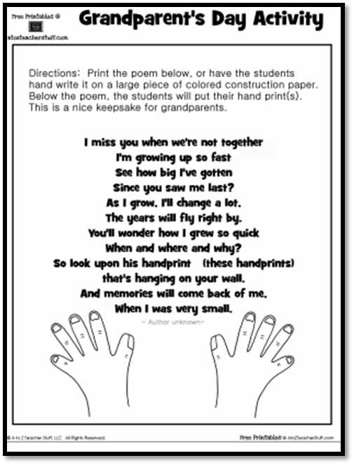 Grandparent\u0027s Day Activity Keepsake Handprint Poem A to Z Teacher