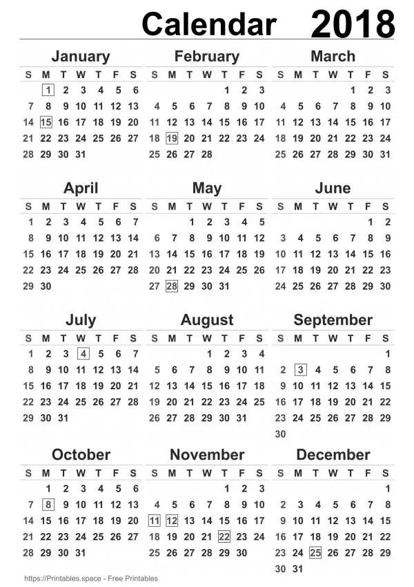 Free Printable Calendars 2018 (USA) - Download And Print