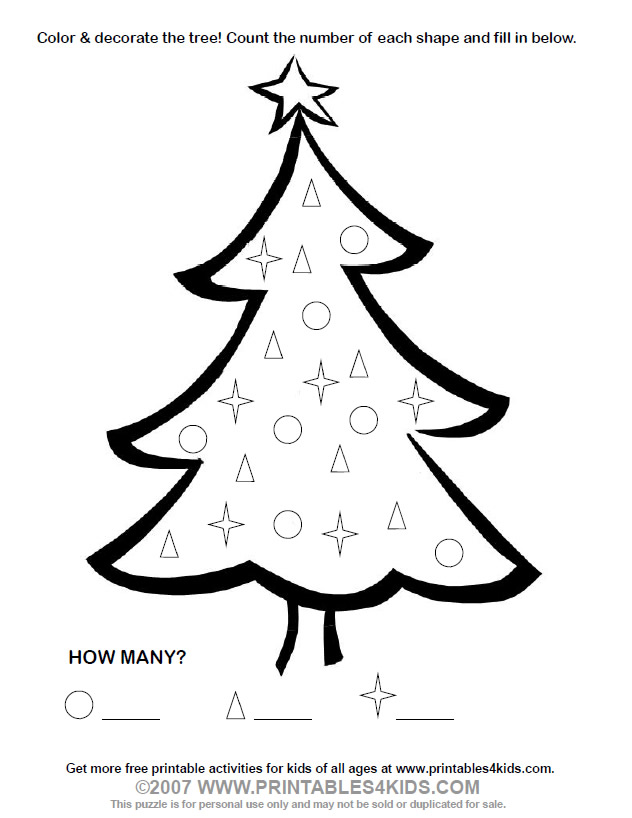 Christmas Tree Count and Color Activity  Printables for Kids \u2013 free - christmas tree printables