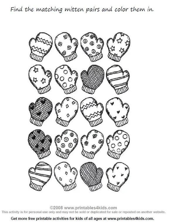 Preschool Math Worksheet Match the Mittens  Printables for Kids
