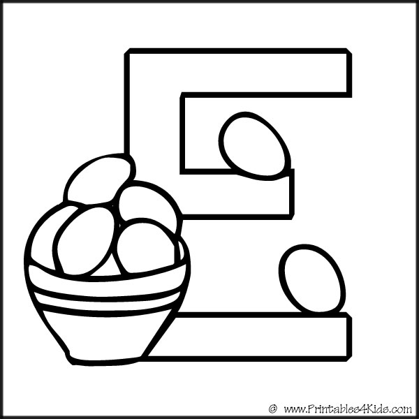 Alphabet Coloring Page Letter E  Printables for Kids \u2013 free word