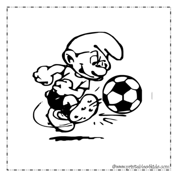 Smurf Soccer Coloring Page  Printables for Kids \u2013 free word search