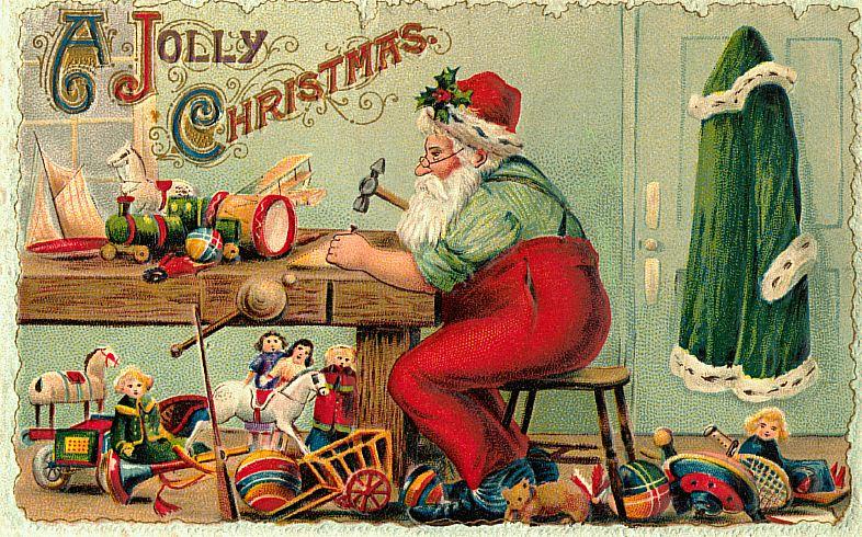 5 Free Christmas Postcards with Vintage Santa Images Printable