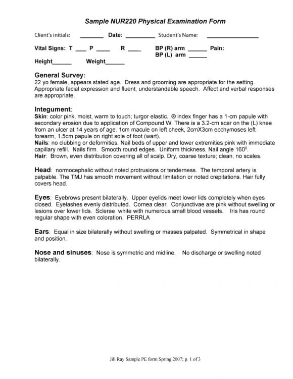 43 Physical Exam Templates  Forms Male / Female - physical exam template