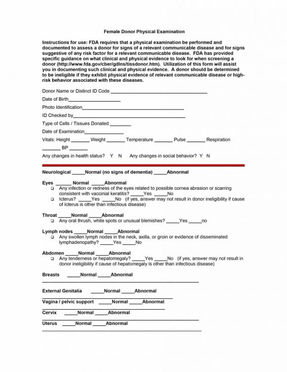 43 Physical Exam Templates  Forms Male / Female